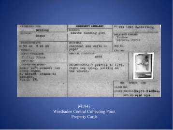 M1947 Wiesbaden Central Collecting Point Property Cards
