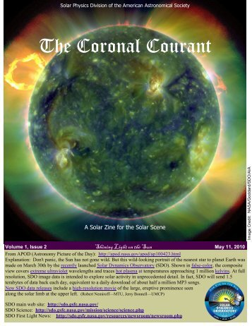 The Coronal Courant - AAS Solar Physics Division - American ...