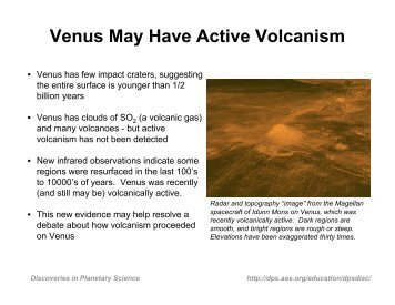 Venus May Have Active Volcanism - Division for Planetary Sciences ...