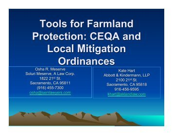 Tools for Farmland Protection: CEQA and Local Mitigation Ordinances