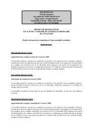 Projets de résolutions à l'Assemblée - Le Groupe - Boursorama