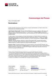 Communiqué Société Générale / Nominations - Boursorama Groupe