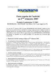 Forte reprise de l activité au 2ème trimestre 2003 - Le Groupe ...