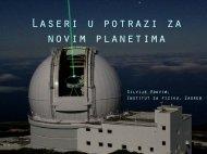 Laseri u potrazi za novim planetima - Institut za fiziku