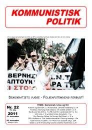 Nr. 22 2011 - Kommunistisk Politik
