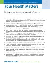 Nutrition Prostate Cancer References - UCSF Radiation Oncology