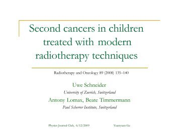 Second cancers in children treated with modern radiotherapy ...