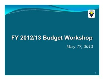 FY 2012/13 Budget Workshop - City of Sunnyvale