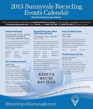 2013 Sunnyvale Recycling Events Calendar - City of Sunnyvale