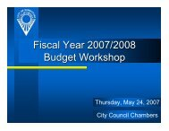 Fiscal Year 2007/2008 Budget Workshop - City of Sunnyvale