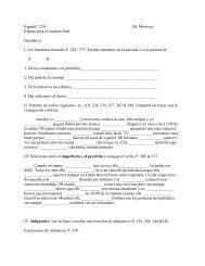 Español 1234 Dr. Montoya Repaso para el examen final Gramática I ...