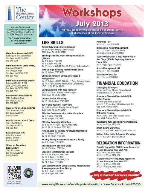 FFSC San Diego Workshop Schedule - Navy Region Southwest