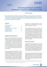 Zhrnutie Európsky prieskum podnikov v kontexte nových a ... - Europa