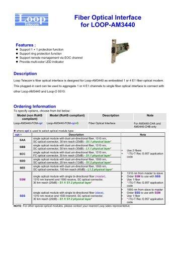 Fiber Optical Interface for LOOP-AM3440 - Launch 3 Telecom