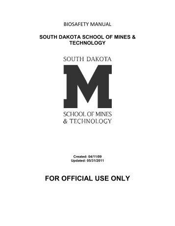 Biosafety Manual - South Dakota School of Mines and Technology