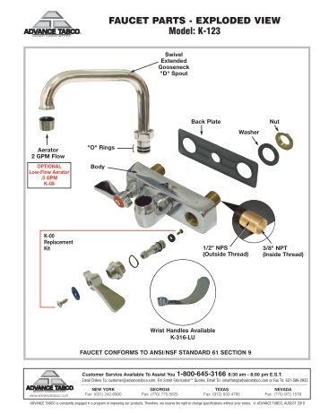 Faucet Parts Exploded View For Model K 121 Parts Town