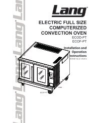 Lang Electric Full Size Computerized Convection Oven - Parts Town