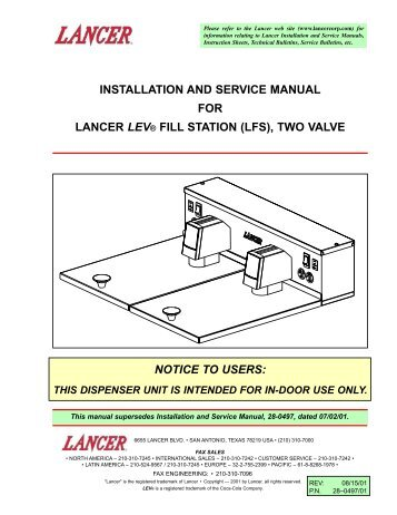 Installation and service manual for lancer kool link partstown installation and service manual for lancer lev fill station parts town publicscrutiny Choice Image