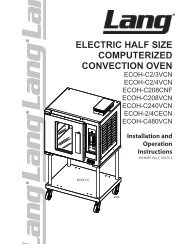 Lang Electric Half Size Computerized Convection Oven - Parts Town