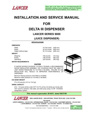 Installation and service manual for lancer kool link partstown installation and service manual for delta iii dispenser parts town publicscrutiny Image collections