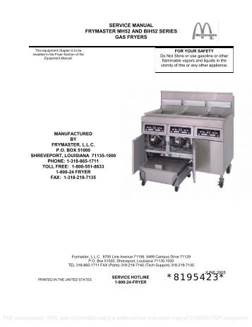 ultrafryer par 2 20f ce gas fryer operating parts town frymaster mh52 bih52 series gas fryers parts town