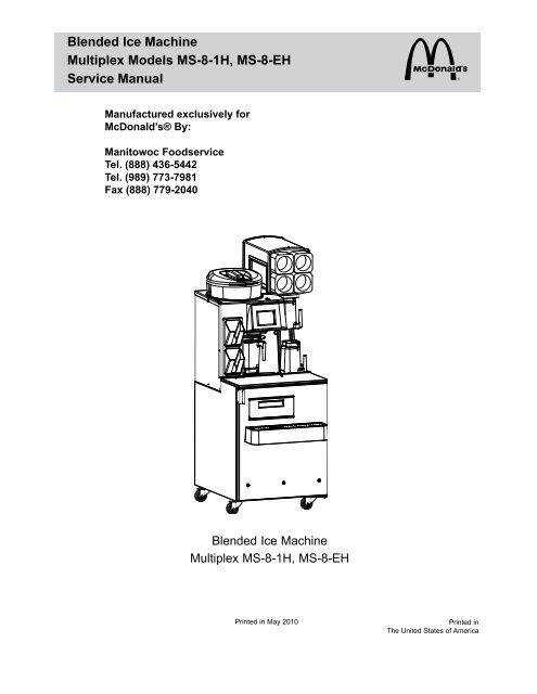 Blended Ice Machine Multiplex Models MS-8-1H, MS-8 ... on