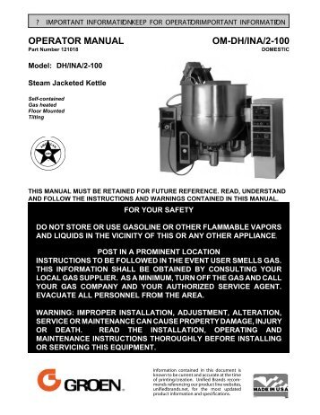 OPERATOR MANUAL OM-DH/INA/2-100 - Parts Town