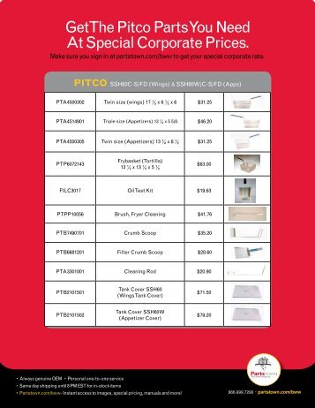 Get the Pitco Parts You Need At Special Corporate ... - Parts Town