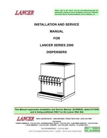Installation and service manual for lancer kool link partstown installation and service manual for lancer series 2500 parts town publicscrutiny Image collections