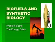 BIOFUELS AND SYNTHETIC BIOLOGY - OpenWetWare