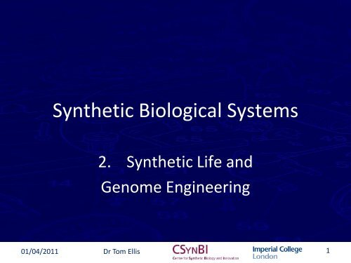 Applications of Synthetic Biology - OpenWetWare