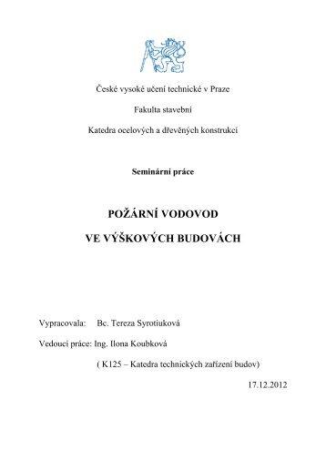 požární vodovod ve výškových budovách - FSv ČVUT -- People