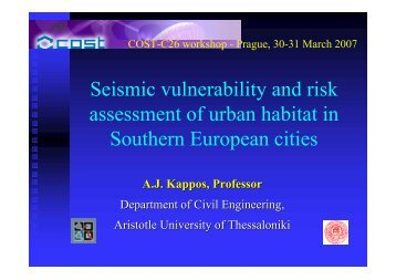 Seismic vulnerability and risk assessment of urban habitat in ...