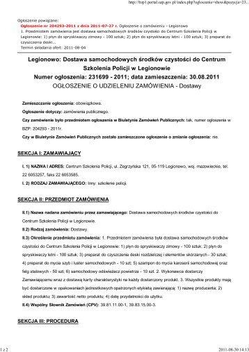 Ogłoszenie o udzieleniu zamówienia - Centrum Szkolenia Policji