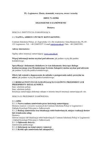 Ogłoszenie o zamówieniu - Zamówienia Publiczne - Centrum ...