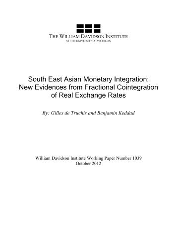 South East Asian Monetary Integration - The William Davidson ...