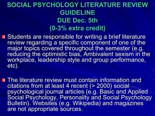 components of a psychology literature review