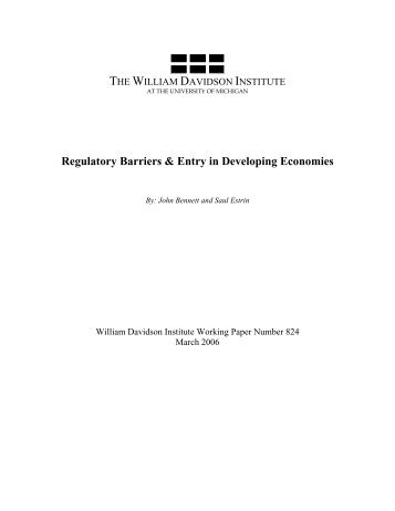 Regulatory Barriers & Entry in Developing Economies - The William ...