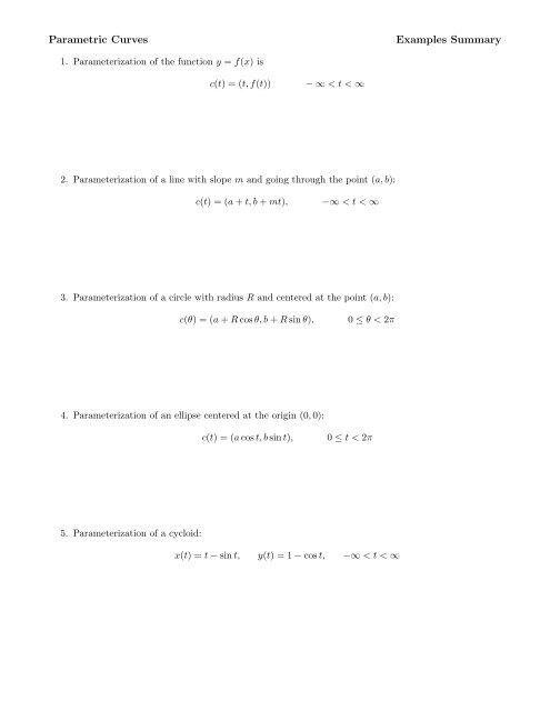 Parametric Equations Worksheet - Ship