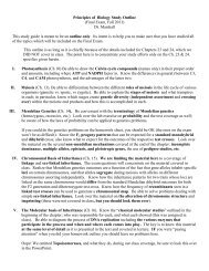 Principles of Biology Study Objectives, Final Exam, Fall, 2011 - Ship