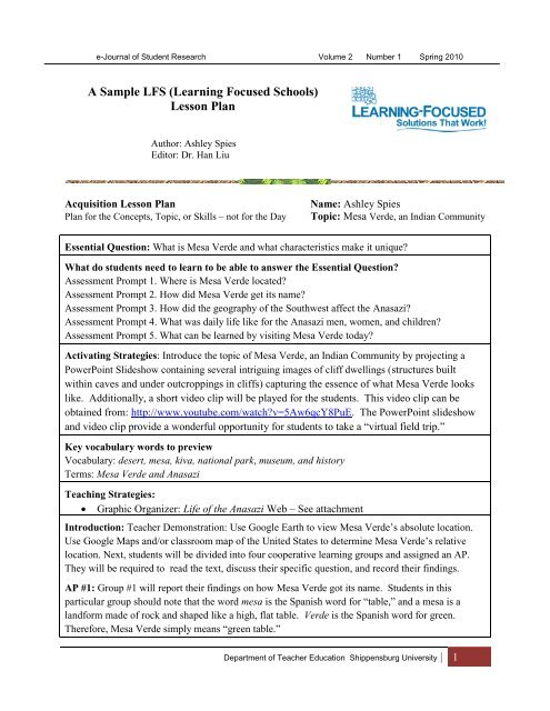 A Sample Lfs Learning Focused Schools Lesson Plan Ship