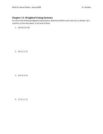 Chapter 11: Weighted Voting Systems - Ship