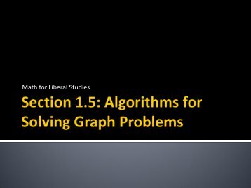 Section 1.5: Algorithms for Solving Graph Problems