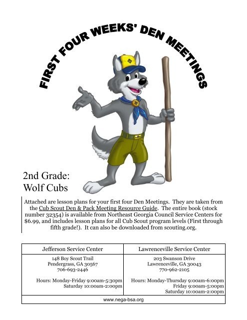 Wolf Cub Scout First Four Weeks Den Meetings Plans