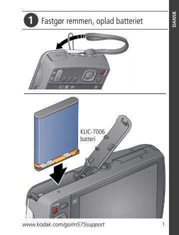 Fastgør remmen, oplad batteriet - Kodak