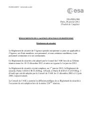 RÈGLEMENTS DE L'AGENCE SPATIALE EUROPEENNE ... - ESA