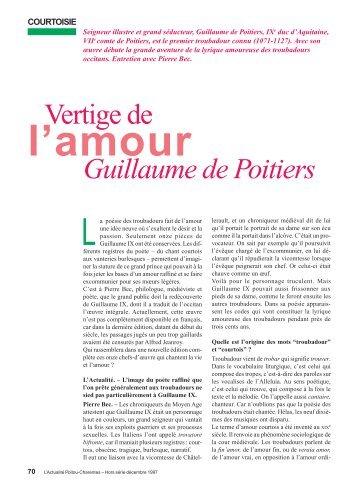 Vertige de Guillaume de Poitiers