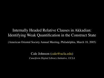 Internally Headed Relative Clauses in Akkadian - Cuneiform Digital ...