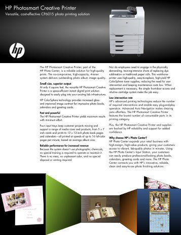 Versatile, cost-effective CP6015 photo printing solution - Large ...