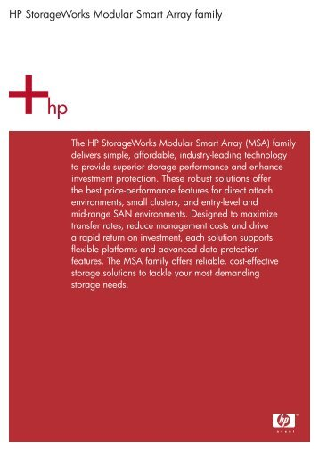 HP StorageWorks Modular Smart Array family - Large Enterprise ...